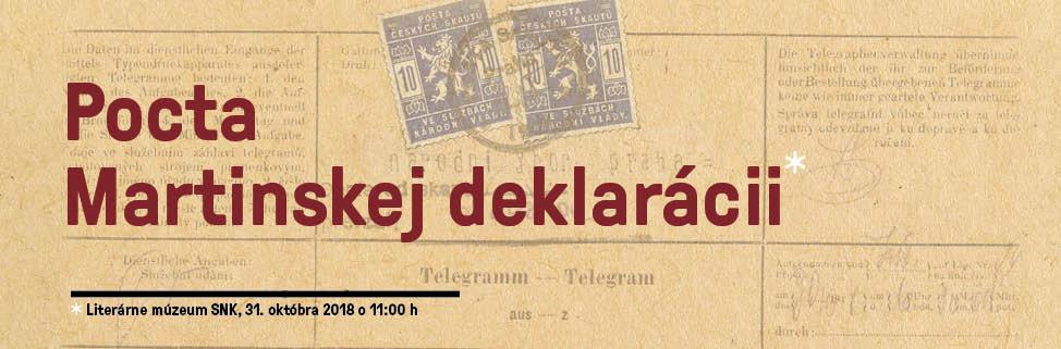 Slovenská národná knižnica - Literárne múzeum - Pocta Martinskej deklarácii